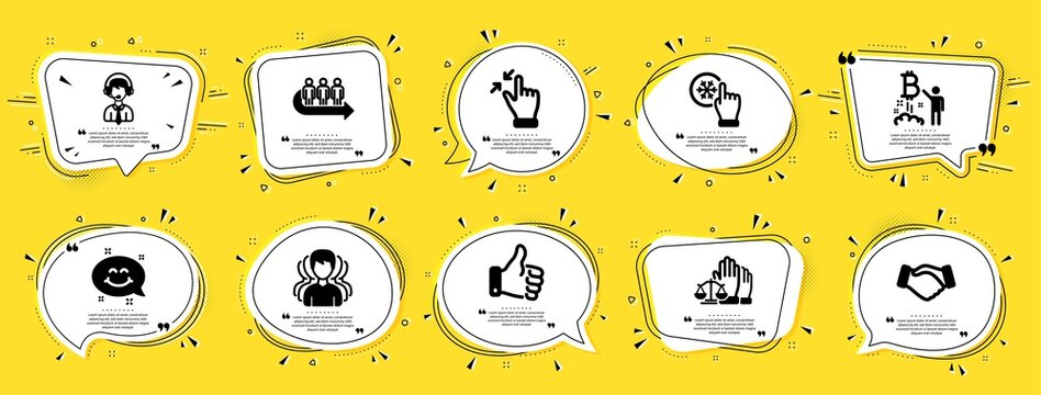 People icons set. Speech bubble offer banners. Yellow coupon badge. Included icon as Queue, Smile chat, Freezing click signs. Group, Shipping support, Touchscreen gesture symbols. Vector