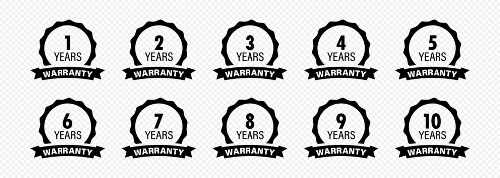 Years and lifetime warranty label icon set. Vector on isolated transparent background. EPS 10