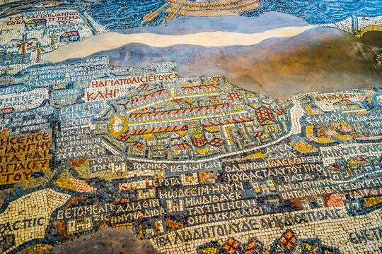 Jordan, in the city of  Madaba, the famous map of Jerusalem in the early byzantine Church of  St George