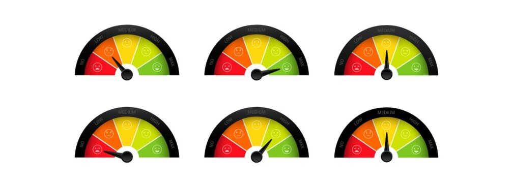 Mood scale icon set. Smiley face satisfaction emoticon happiness smile feedback scale. From angry to happy emotion. Vector on isolated white background. EPS 10