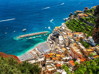 Wall Mural - Landscape with aerial view of Atrani town at famous amalfi coast, Italy
