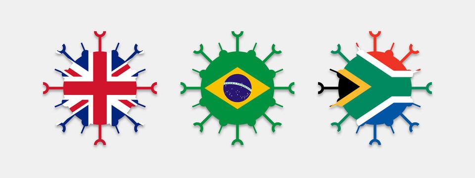 New variant of the Covid19 coronavirus - British variant, Brazilian variant, South African variant - Flag of Great Britain, Brazil and South Africa embedded in virus logo - coronavirus mutation