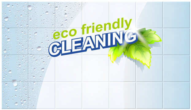 Eco Friendly Cleaning Concept. White Wet Clean Tiles With Realistic Water Drops. Befor And After Vector Illustration. Household, Detergent Or Cleaning Flyer Template