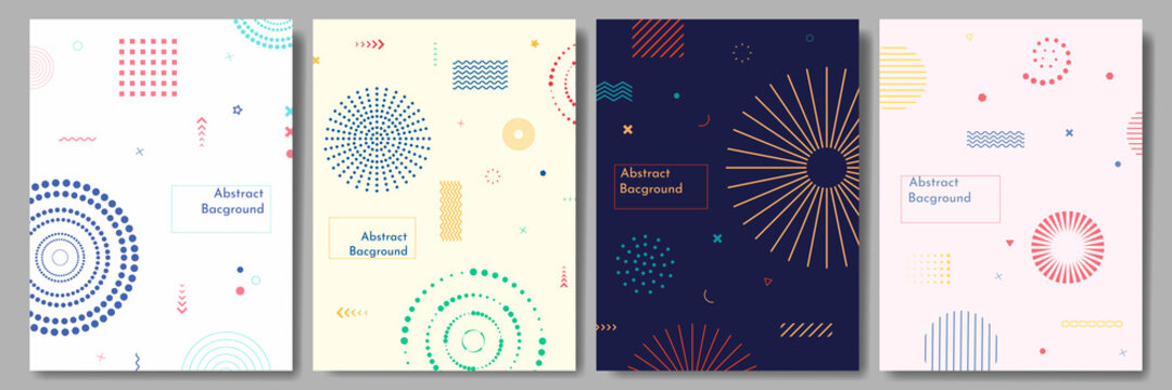 Vector abstract illustration. Neo memphis pattern poster collection. Vibrant color background. Cool bright wallpapers. Design elements for book cover, brochure, magazine, flyer, booklet.