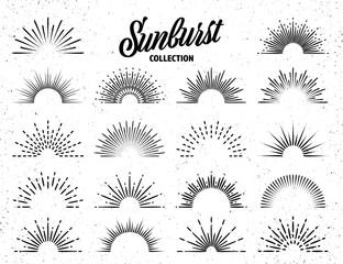 Fototapeta Vintage grunge sunburst collection. Bursting sun rays. Fireworks. Logotype or lettering design element. Radial sunset beams. Vector illustration.