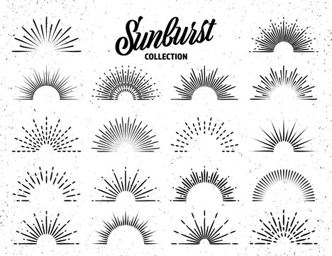 Vintage grunge sunburst collection. Bursting sun rays. Fireworks. Logotype or lettering design element. Radial sunset beams. Vector illustration.