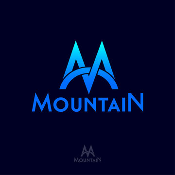 Mountain logo. M letter. M monogram. Letter M is like mountain blue peaks and bridge. Emblem for mountain sport, skiing, climbing, equipment, clothes, travel club.