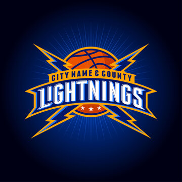 """""""Lightnings"""" basketball team logo. Basketball ball with letters, rays, flashes and stars. Emblem for sport team, equipment, clothes, sport club."""