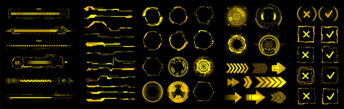 Yellow HUD, GUI, UI digital elements set for VR, web design. Futuristic User interface (charts, abstract circle, lines, loading bars and other elements) Sci-fi modern collection HUD, UI. Vector set