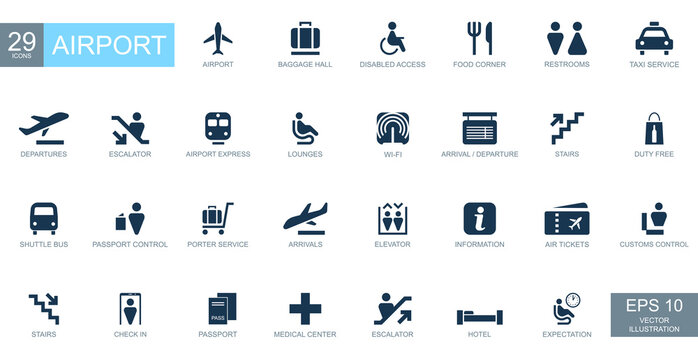 Abstract icons on the theme of airport - Vector