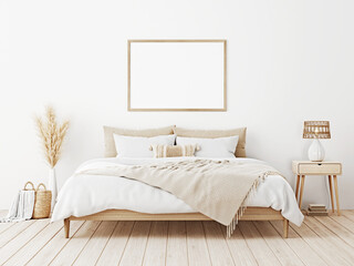 Fototapeta Horizontal frame mockup in boho bedroom interior with wooden bed, beige fringed blanket, cushion with tassels, dried pampas grass, basket and wicker lamp on white wall. 3d rendering, 3d illustration obraz
