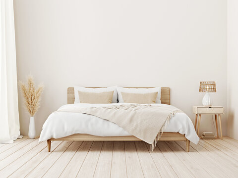 Bedroom interior mockup in boho style with fringed blanket, cushion with tassels, linen bedding, dried pampas grass, basket lamp and curtain on empty beige background. 3d rendering, 3d illustration