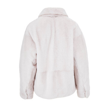 Ice Shearling Ivory Nylon Reversible Coat with Spread Collar Isolated. Back View Women's Jacket with Concealed Button-Snap Front Closure and Dropped Shoulders, Pleated Cuff, Lower Front Slip Pockets