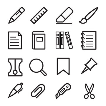 Stationery icon flat style logo illustration