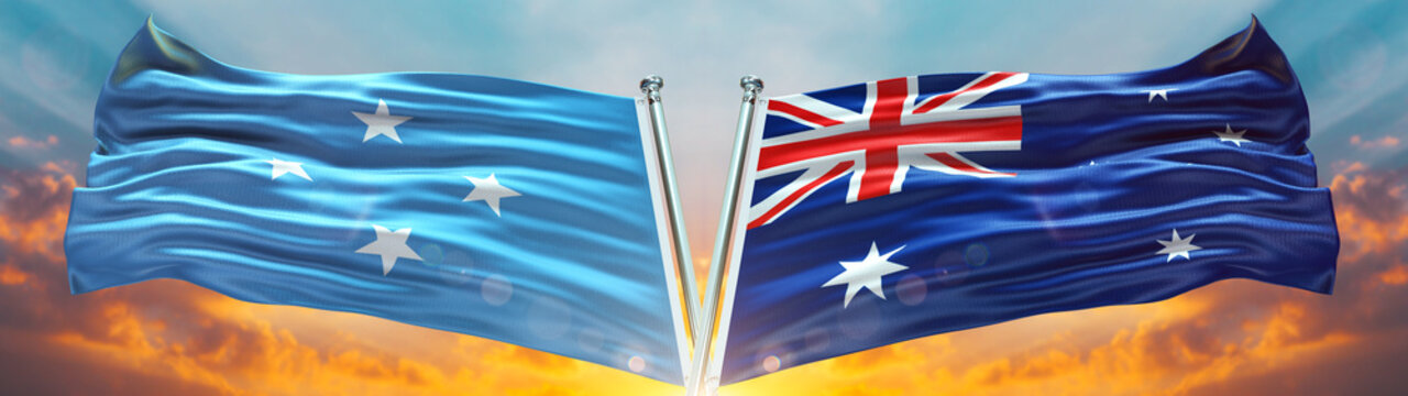 Australia Flag and Micronesia flag waving with texture sky Cloud and sunset Double flag