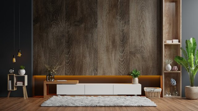 Cabinet TV in modern living room with decoration on wooden wall background.