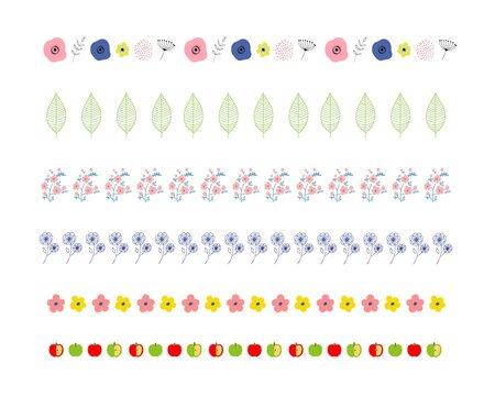 花と葉とりんごのラインイラスト素材セット