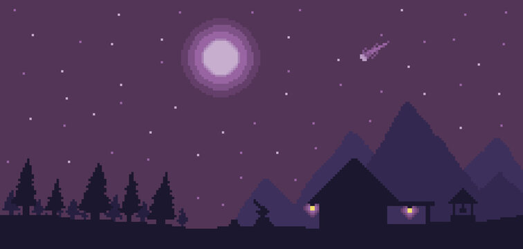 Pixel art lumberjack house background with pines and mountains in night sky. 8bit game scenario