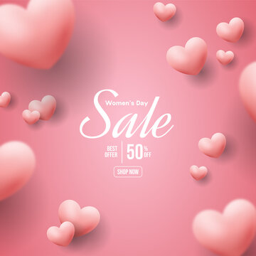 Women's day sale with illustration of pink love balloons being spread.