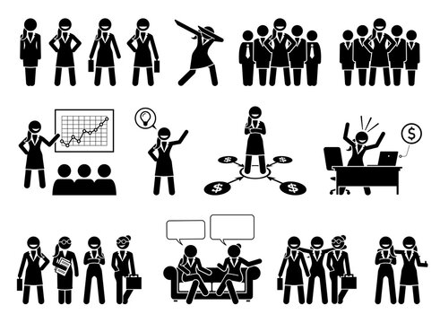 Professional businesswoman or business lady stick figures pictogram. Vector illustrations of successful business woman, female CEO, and girl corporate executives in a company.