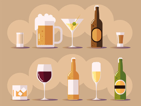 set icons with wine champagne beer botlles, cups with drinks