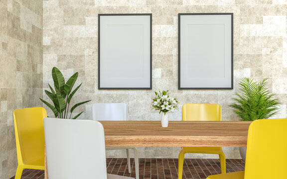 A couple of mock up poster frame in modern interior background beside of table inside room with some trees, 3D render, 3D illustration