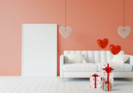 Mock up of poster frame in Valentine decorated  modern interior background in living room with gift box, 3D render, 3D illustration