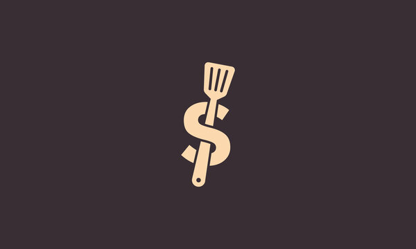 spatula kitchen with letter S logo symbol icon vector graphic design