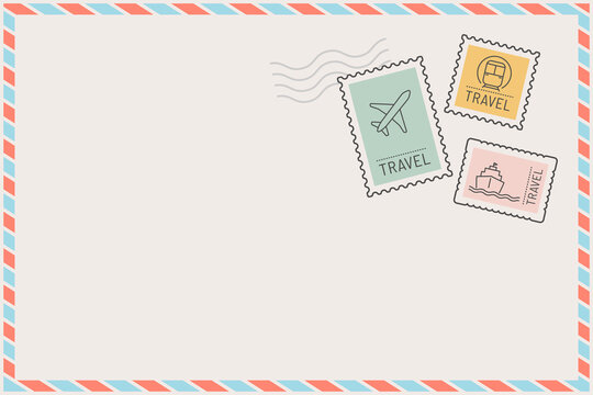 Stamped postcard frame with travel theme vector