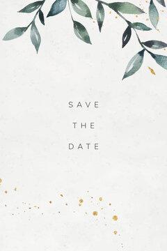 Green leafy wedding invitation card vector