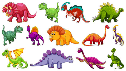 Set of different dinosaur cartoon character isolated on white background