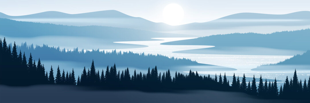 Vector illustration of mountain landscape. Pine forest and mountains in fog.