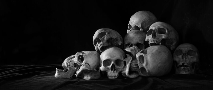 The pile of old skulls put on black cloth and black background