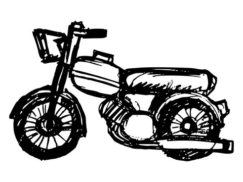 Classic, road motorcycle. Side view. Motive of transport