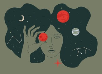 Obraz Woman portrait with planets in outer space cosmos - fototapety do salonu