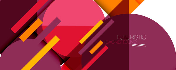 Fototapeta Clean minimal geometric abstract background with triangles and circles. Vector illustration for covers, banners, flyers and posters and other designs