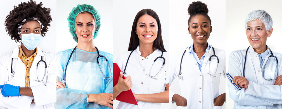 Collage of group of professional doctor nurse people over isolated background with a happy and cool smile on face. Lucky person. Medical staff around the world - ethnically diverse headshot portraits