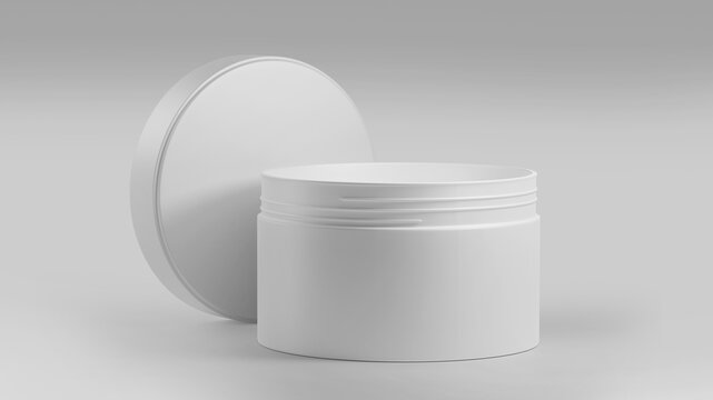 White Plastic Cosmetic Jar Mockup, Blank beauty make-up Container 3D Rendering isolated on light background