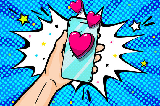 Sending love message in pop art style. Hand holding phone with love heart on screen.