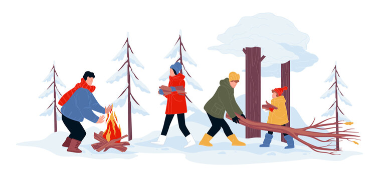 Winter camping of family, rest on vacations vector