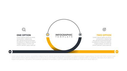 Fototapeta Business infographics template for presentation. Timeline with 2 steps options, circle. Vector illustration. obraz
