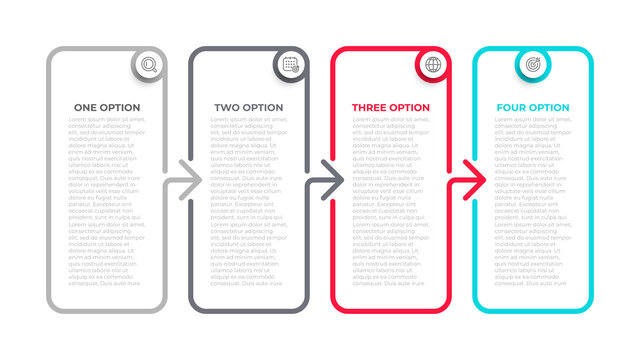 Vector info graphic template design label with icons. Business concept with 4 options, steps, parts. Can be used for work flow diagram, info chart, graph.