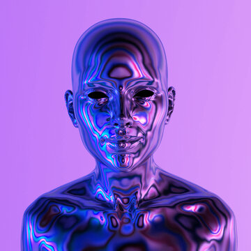 Robot or Artificial Human made of iridescent plastic material in neon lights. 3d rendering illustration in sci-fi futuristic style.
