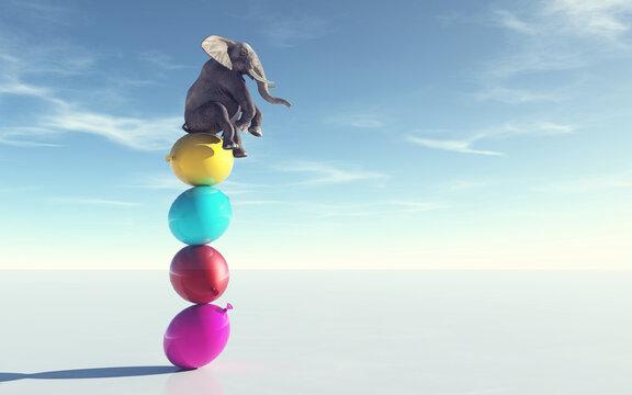 Elephant sitting balloons