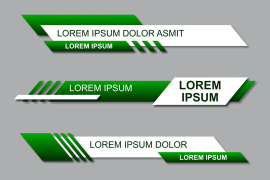 Three geometric lower third banners set design. Modern geometric lower third banner template design. Colorful lower thirds set template vector. Modern, simple, clean design style