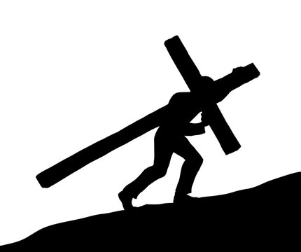 Men carry the cross. Vector drawing