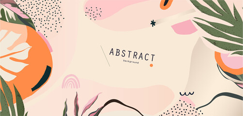 Obraz Abstract floral organic shapes background. Contemporary modern hand drawn vector illustration.  - fototapety do salonu