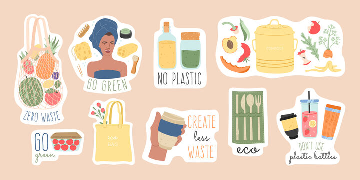 Zero waste big stickers set with slogans. Big bundle of recycle and eco friendly elements, go green lifestyle, save the planet. Modern ecological anti plastic pins, flat cartoon vector illustration