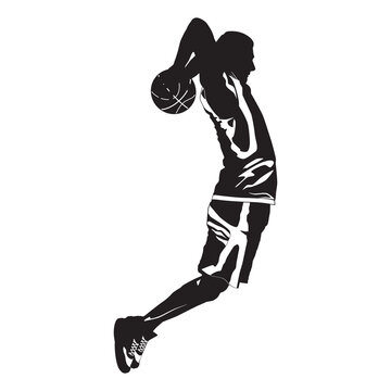 Professional basketball player silhouette shooting ball into the hoop, vector illustration. Slam dunk shooting technique