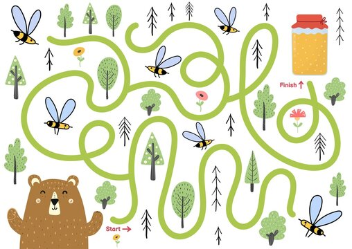 Maze puzzle for kids. Help cute bear find way to honey jar. Activity page with funny forest character.  Mini game for school and preschool. Vector illustration